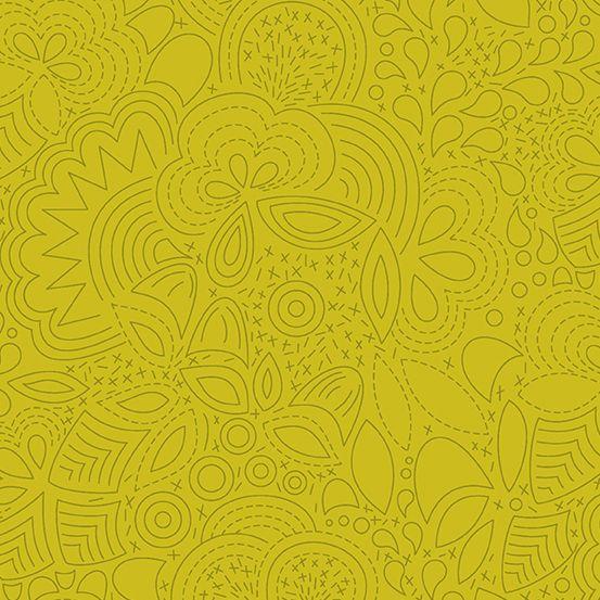 Sun Print 2020 Stitched Chartreuse Floral Geometric Alison Glass Cotton Fab