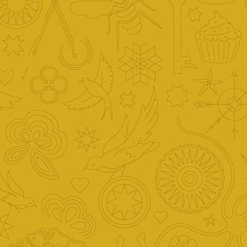 Sun Print 2020 Embroidery Yarrow Yellow Animal Icon Outline Alison Glass Cotton Fabric