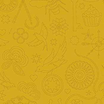 Sun Print 2020 Embroidery Yarrow Yellow Animal Icon Outline Alison Glass Cotton Fabric