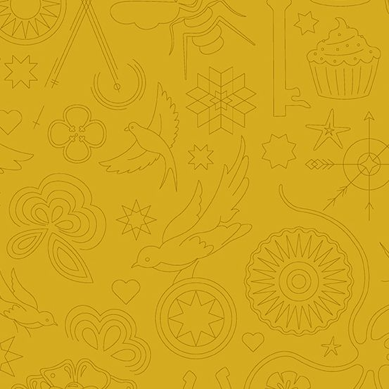 Sun Print 2020 Embroidery Yarrow Yellow Animal Icon Outline Alison Glass Co