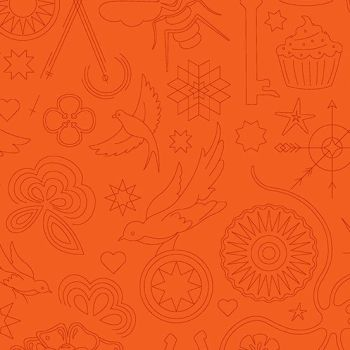 Sun Print 2020 Embroidery Pumpkin Orange Animal Icon Outline Alison Glass Cotton Fabric