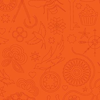 DESTASH 1m Sun Print 2020 Embroidery Pumpkin Orange Animal Icon Outline Alison Glass Cotton Fabric