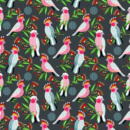 Golden Grove Cockatoo Bird Tropical Cotton Fabric
