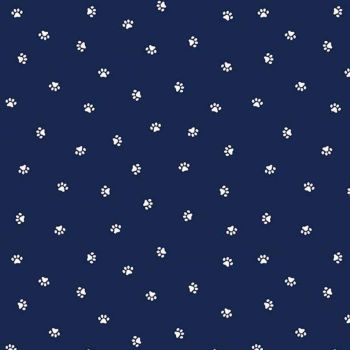 REMNANT 1.61m Hey Mister Who Me? Navy Paw Prints Paws Dogs Bulldog Cotton Fabric