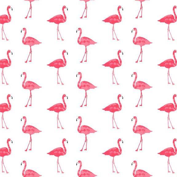REMNANT 59cm Flamingos Fruity Friends Flamingo Bird on White Tropical Cotto