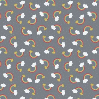 REMNANT 66cm Rainbow Small Things Mystical and Magical Rainbows Grey Metallic Gold Cotton Fabric