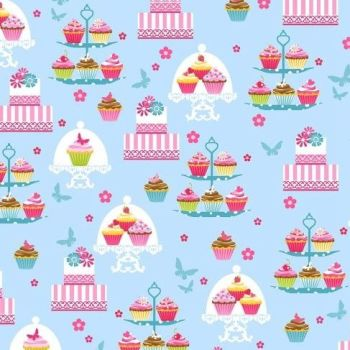 REMNANT 65cm Cupcake Cafe Cake Stands Cupcakes Cakestand Baking Cake Sweet Treat Blue Cotton Fabric