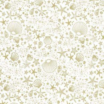 REMNANT 20cm Glitter Critters Seashore Sparkle Shells Seashells Sea Shell Beach Clam Shell Star Fish Stars Metallic Gold Cotton Fabric
