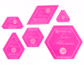 "Tula Pink Tula's Bloomers 6 Piece Acrylic Fabric Cutting Templates with 3/8"" Seam Allowance"