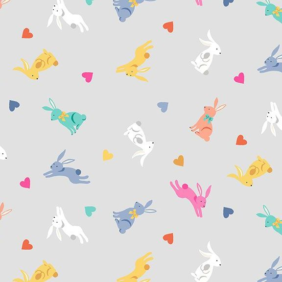 Spring Rabbits Grey Bunny Rabbit Hearts Hare Cotton Fabric