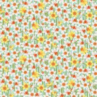 Spring Daffodils Turquoise Daffodil Flower Ditsy Floral Cotton Fabric by Makower