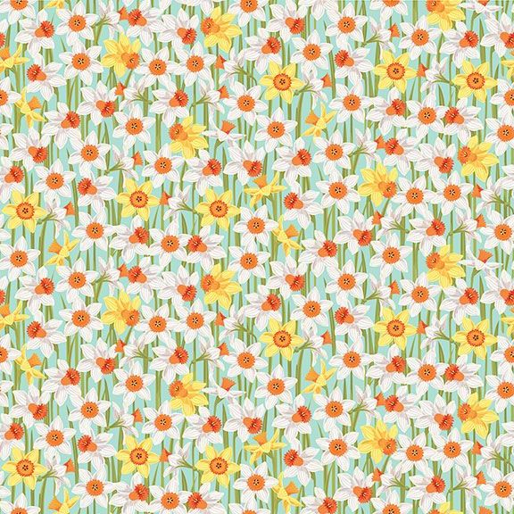 Spring Daffodils Turquoise Daffodil Flower Ditsy Floral Cotton Fabric by Ma