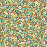 Spring Flowers Turquoise Daffodil Tulip Daisy Flower Ditsy Floral Cotton Fabric by Makower