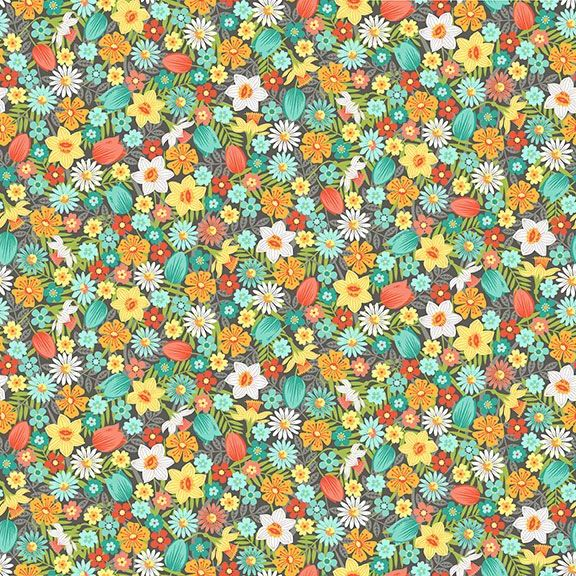 Spring Flowers Turquoise Daffodil Tulip Daisy Flower Ditsy Floral Cotton Fa