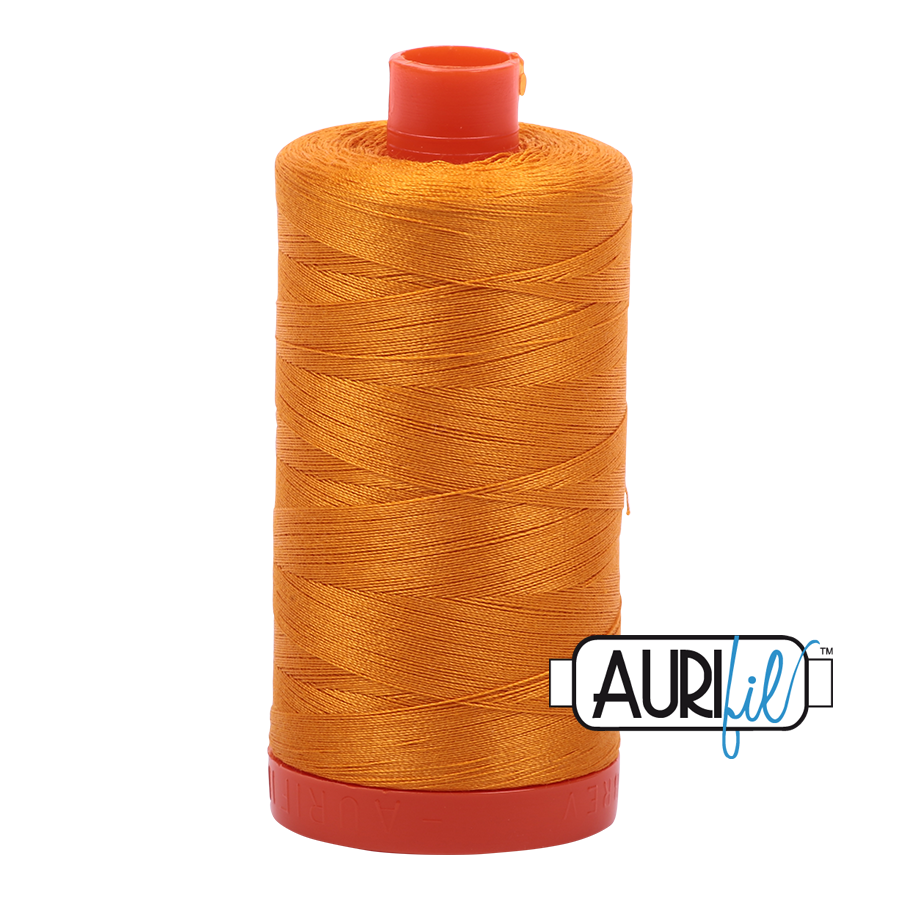 Aurifil 80wt Cotton Thread Large Spool 1300m 2145 Yellow Orange