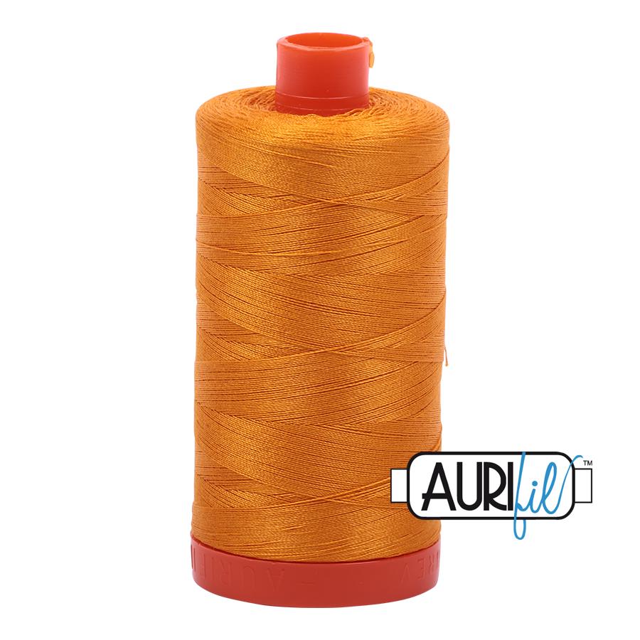 Aurifil 80wt Cotton Thread Large Spool 1300m 2145 Yellow Orange