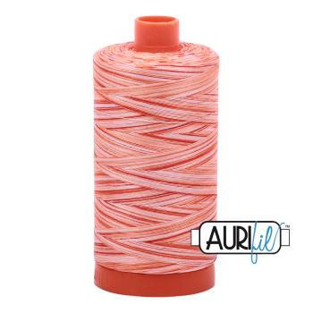 Aurifil 50wt Variegated Cotton Thread Large Spool 1300m 4659 Mango Mist