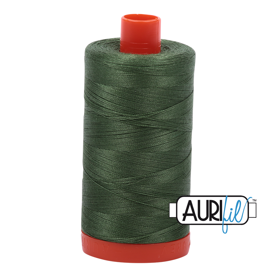 Aurifil 80wt Cotton Thread Large Spool 1300m 2890 Very Dark Grass Green