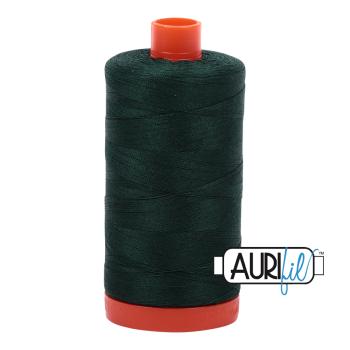 Aurifil 50wt Cotton Thread Large Spool 1300m 4026 Forest Green