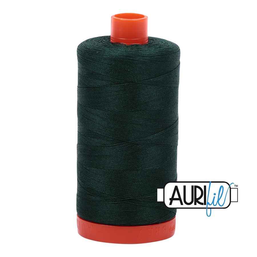 Aurifil 80wt Cotton Thread Large Spool 1300m 4026 Forest Green