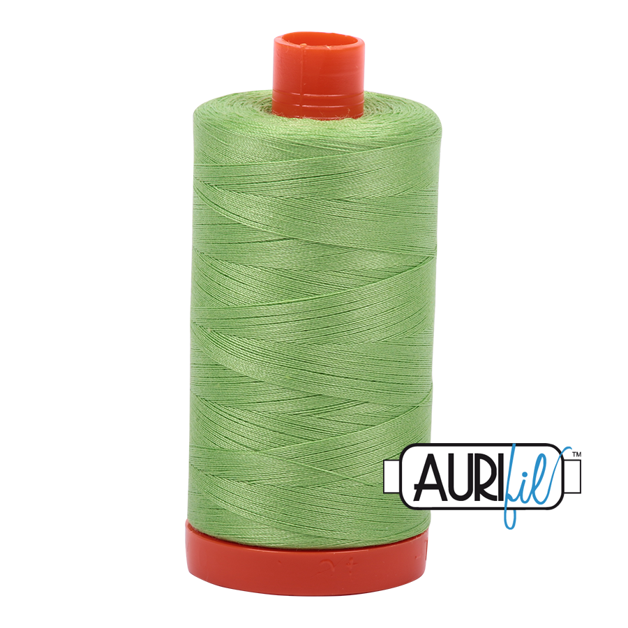 Aurifil 80wt Cotton Thread Large Spool 1300m 5017 Shining Green