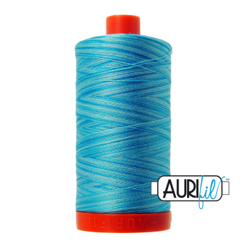 Aurifil 50wt Variegated Cotton Thread Large Spool 1300m 4663 Baby Blue Eyes