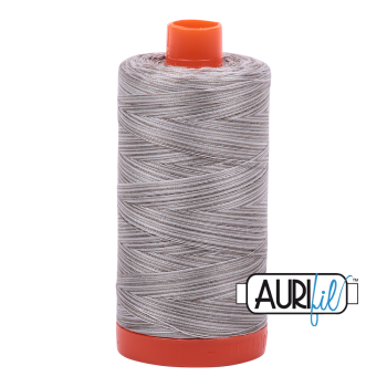 Aurifil 50wt Variegated Cotton Thread Large Spool 1300m 4670 Silver Fox
