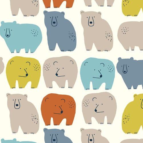 Laska Bears Coloured Bear Animals Nursery Cotton Fabric