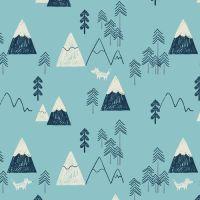 Laska Mountains Winter Mountain Range Tree Fox Nursery Cotton Fabric