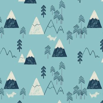 Laska Mountains Winter Mountain Range Tree Fox Nursery Cotton Fabric