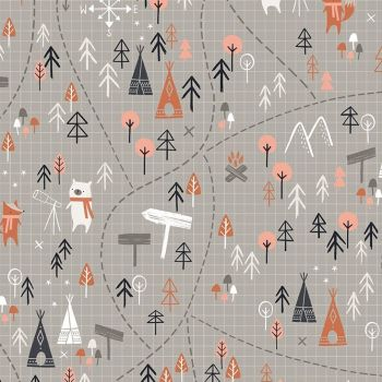 Under The Stars Map Grey Camp Grid Bear Fox Hiking Trail Trees Telescope Animal Tent Nursery Cotton Fabric