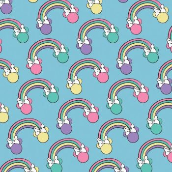 Disney Minnie Mouse I Believe In Unicorns Rainbows Blue Rainbow Cotton Fabric