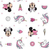 Disney Minnie Mouse I Believe In Unicorns Sugary Delights White Donut Unicorn Icecream Cotton Fabric