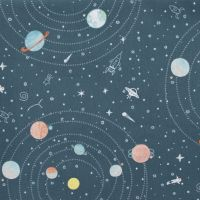 Eclipse This Asphalt Planet Solar System Astronaut Rocket Stars Star Space Dear Stella Cotton Fabric