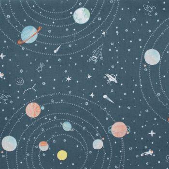 Eclipse This Asphalt Planet Solar System Astronaut Rocket Stars Star Space Dear Stella Cotton Fabric