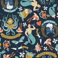 Sink or Swim Tattoo Blueprint Sailor Tattoos Navy Nautical Rae Ritchie Dear Stella Cotton Fabric