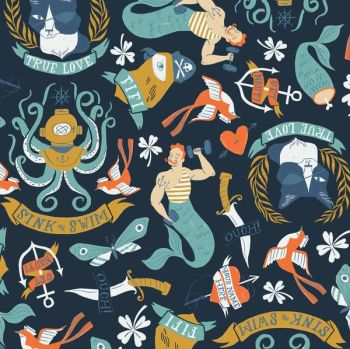 Sink or Swim Tattoo Blueprint Sailor Tattoos Navy Nautical Rae Ritchie Dear Stella Cotton Fabric
