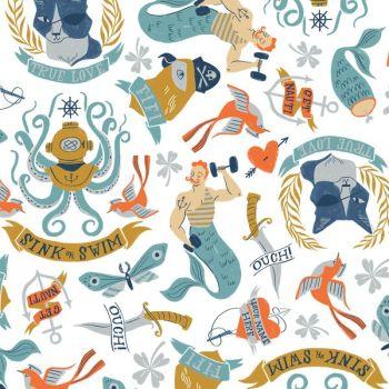 Sink or Swim Tattoo White Sailor Tattoos Navy Nautical Rae Ritchie Dear Stella Cotton Fabric