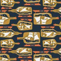 Sink or Swim Ship In A Bottle Blueprint Sailor Boat Sailing Navy Nautical Rae Ritchie Dear Stella Cotton Fabric