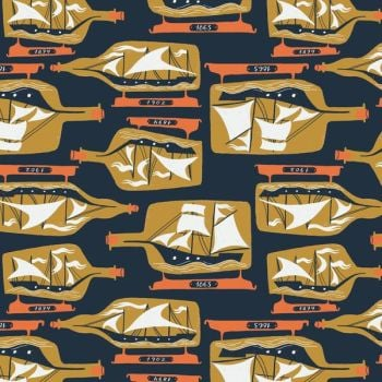 Sink or Swim Ship In A Bottle Blueprint Sailor Boat Sailing Navy Nautical Rae Ritchie Dear Stella Cotton Fabric