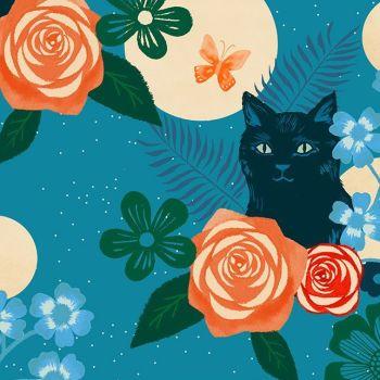 Ruby Star Society Rayon 2019 Magic Cat Teal Viscose Challis Fabric