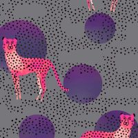 Ruby Star Society Rayon 2019 Moon Cheetah Grey Viscose Challis Fabric