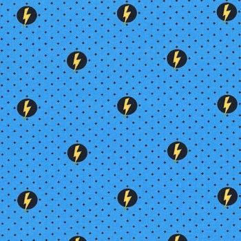Michael Miller Hero Power Shield Electric Blue Novelty Superhero Lightning Bolt Comics Cotton Fabric