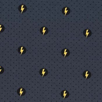Michael Miller Hero Power Shield Mercury Novelty Superhero Lightning Bolt Comics Cotton Fabric