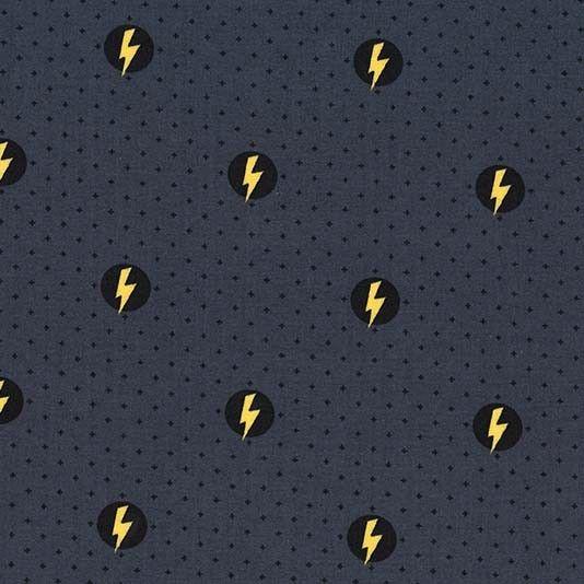 Michael Miller Hero Power Shield Mercury Novelty Superhero Lightning Bolt C