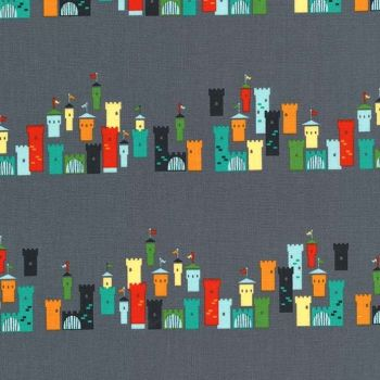 REMNANT 82cm Good Knight Castles in the Air Grey Castle Medieval Cotton Fabric by Michael Miller