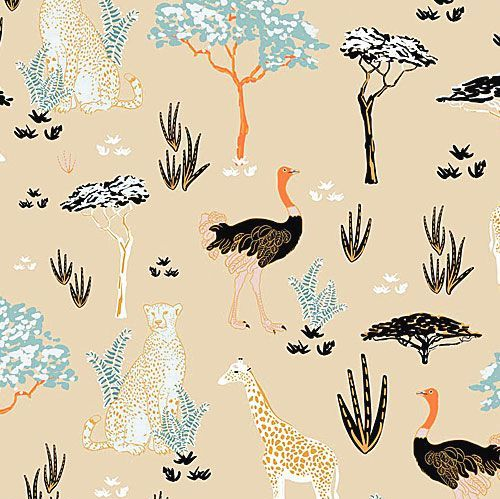 Safari Dreams Menagerie Sand Giraffe Cheetah Emu Jungle Animal Cotton Fabri