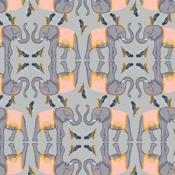 Night Circus Elephants in Grey Elephant Animal Feather Nursery Cotton Fabric