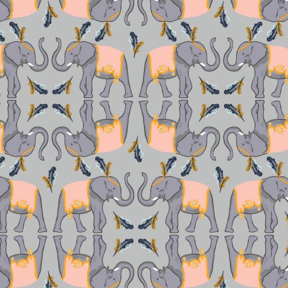 Night Circus Elephants in Grey Elephant Animal Feather Nursery Cotton Fabri