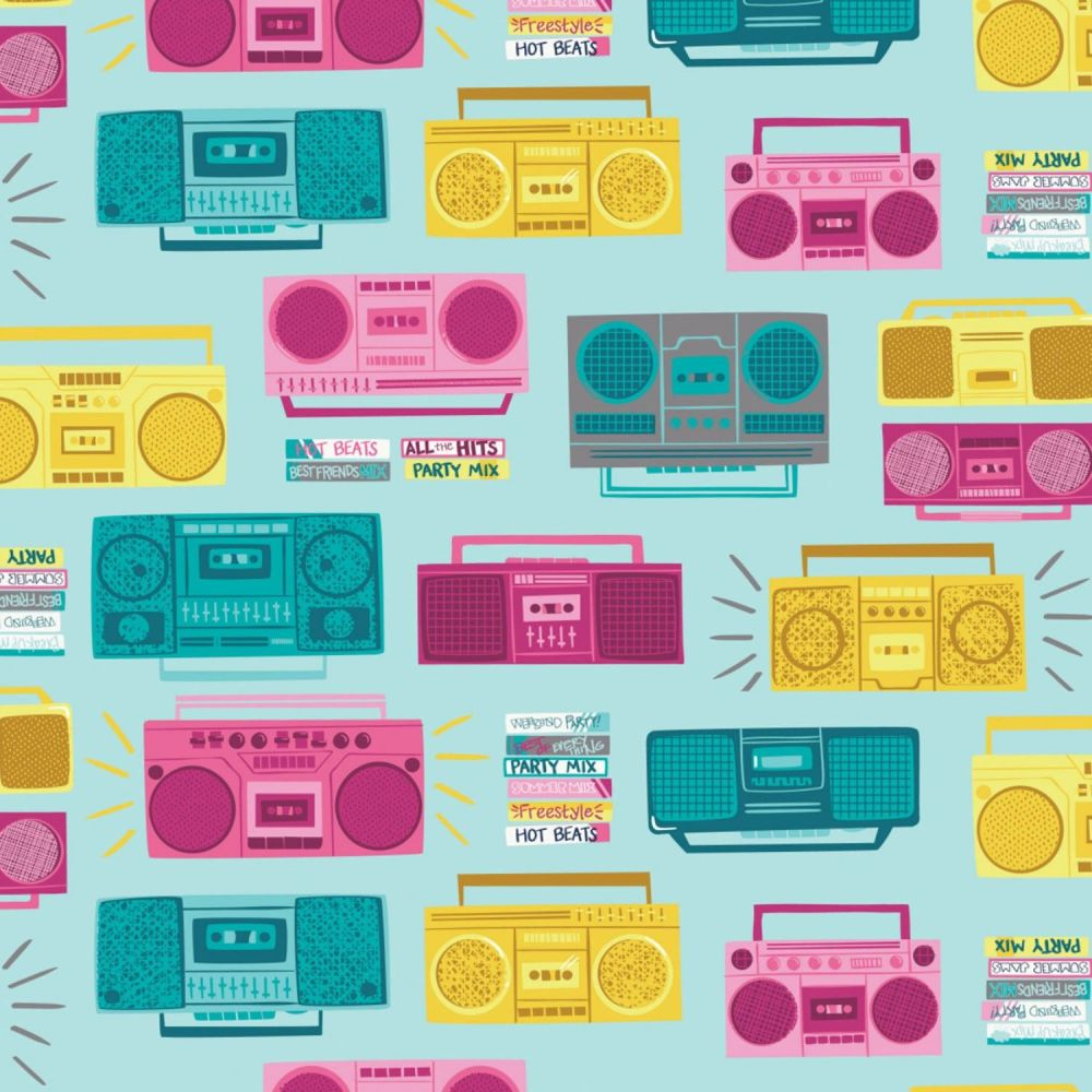 Retro Blast Boombox Aqua Cassette Tapes Music Mixtape Tape Deck Cotton Fabr